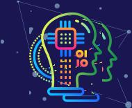 Icoon die machine learning in kunstmatige intelligentie verbeeldt